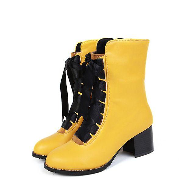 Meotina Mujer Botas Rojas Zapatos de Las Señoras de Invierno 2017 Nuevo Talón de Bloque Señoras ocasionales de Gran tamaño 33 46 Mujeres Atan para arriba Botas de Invierno en Botas media caña de Zapatos en AliExpress.com | Alibaba Group