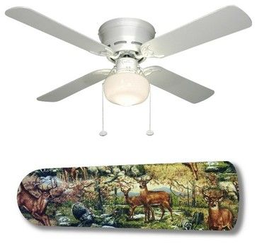 """Outdoor Wildlife Deer Racoon Turkey 42"""" Ceiling Fan and Lamp - eclectic - ceiling fans - New Image Concepts"""