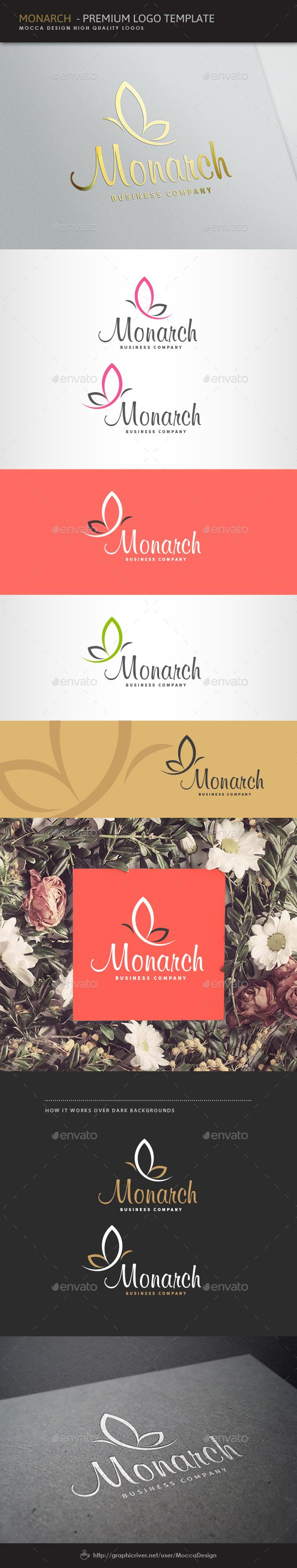 Logotype butterfly and letter b in different colour variants on a - Monarch Logo