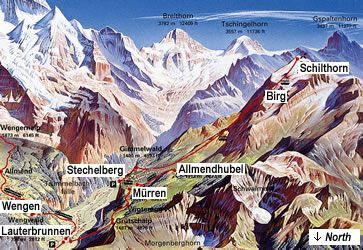 Map depicting Schilthorn Piz Gloria and the Eiger, Mönch and Jungfrau mountains