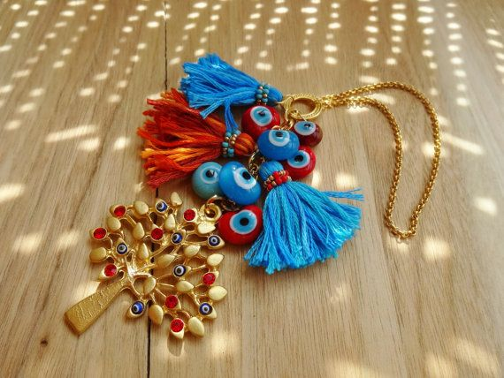 Gold Tree Charm Evil Eye Beaded Tassel Home Decor  by cocolocca,