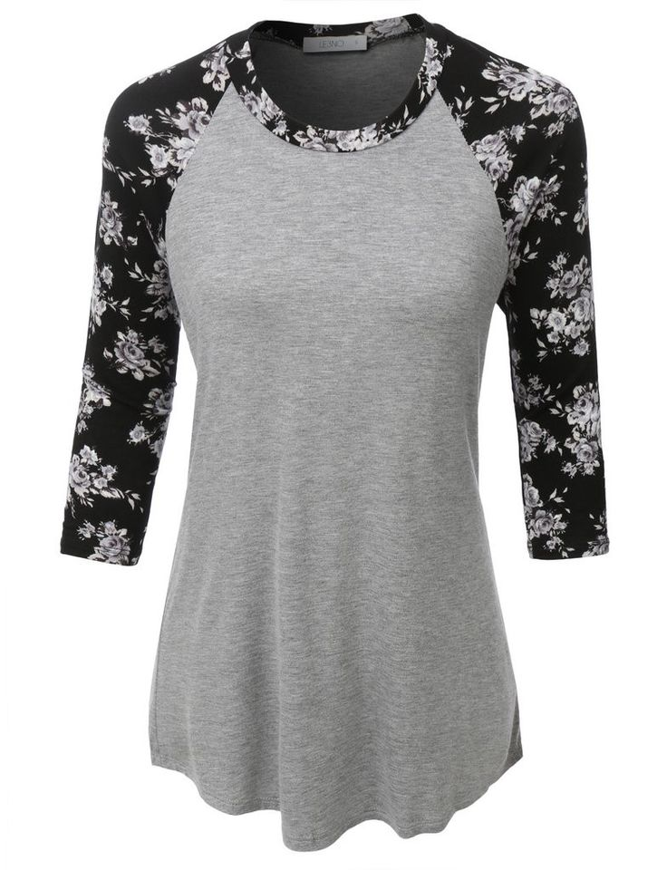 Ultra Soft 3/4 Sleeve Floral Graphic Baseball Top