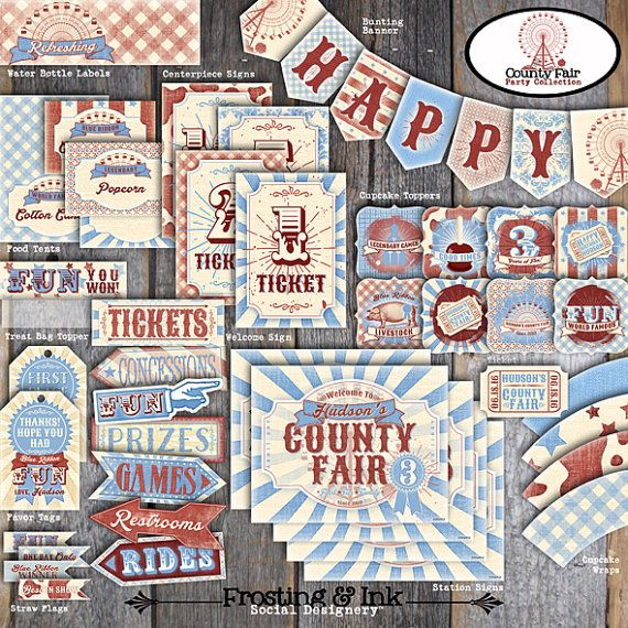 County Fair Party - County Fair Birthday Party - Decorations Set Kit Collection - Signs, Banner, Labels, Tags - Printable (Carnival,Country)