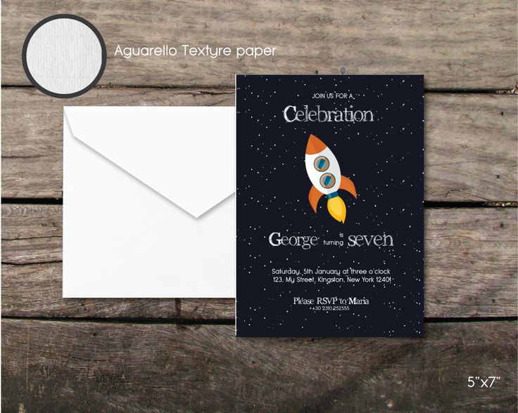 rocket space birthday party invitation, Printable and printed, seventh birthday boy, paper and party supplies, thank you card, space party by BeePrintDesigns on Etsy