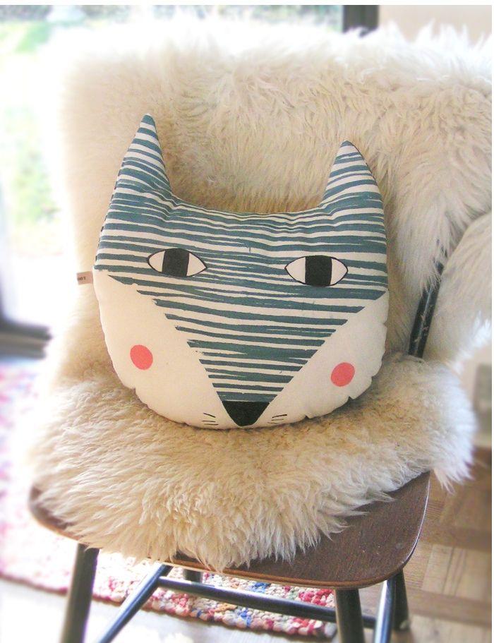 Cool fox hand screen printed cushion Nordic design