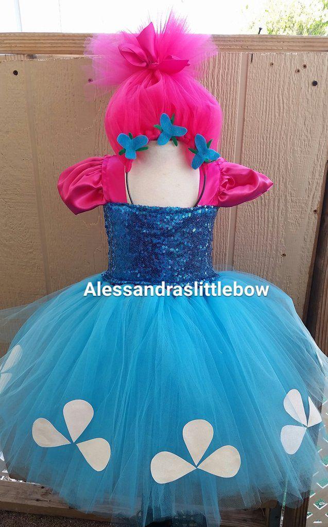 Trolls princess tutu dress  princess Poppy costume trolls birthday outfit