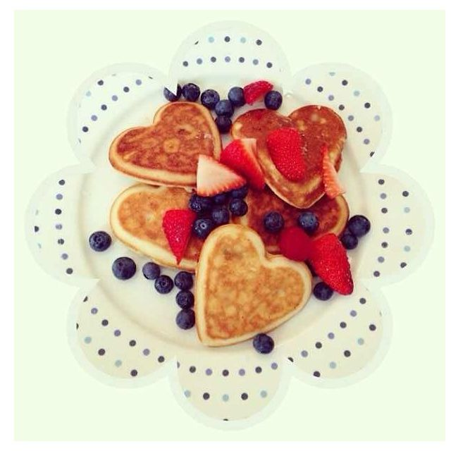 Heart shaped pancakes and berries   Valentines Day breakfast