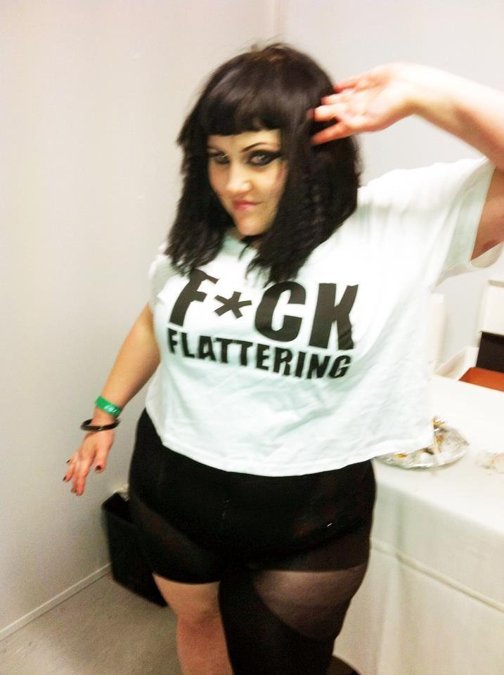 Beth Ditto wearing Gisela Ramirez F*ck flattering t shirt.