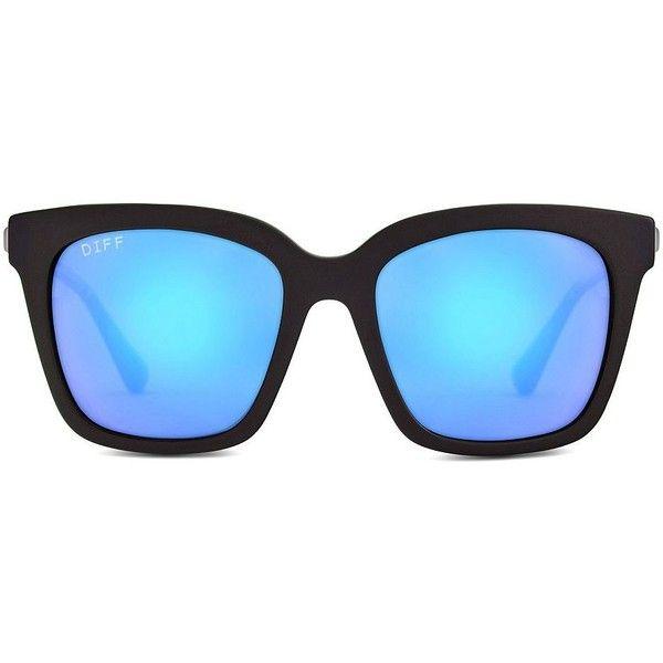 Diff Eyewear 54MM Wayfarer Sunglasses ($85) ❤ liked on Polyvore featuring accessories, eyewear, sunglasses, black blue, polarized glass lens sunglasses, oversized sunglasses, oversized wayfarer style sunglasses, wayfarer sunglasses and blue lens polarized sunglasses