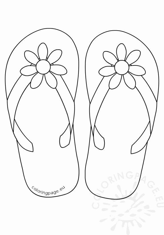 Flip Flop Coloring Page Inspirational Flip Flops Daisy Flower Button Coloring Page In 2020 Summer Coloring Pages Coloring Pages Fall Coloring Pages