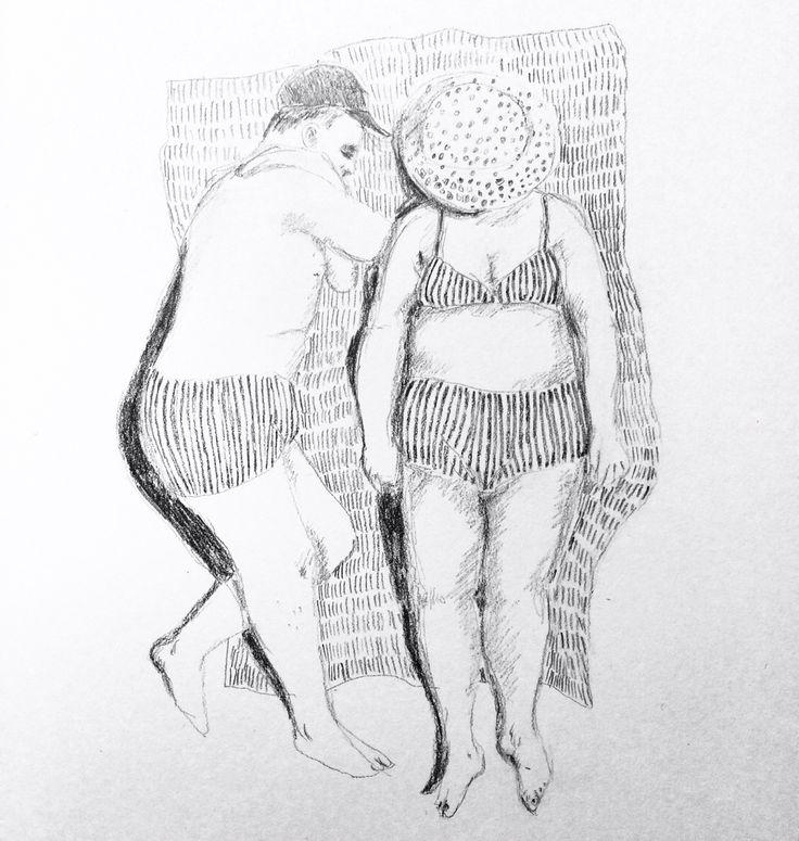 Sun Bathing Pencildrawing Ingjerd Tufto Instagram @intu
