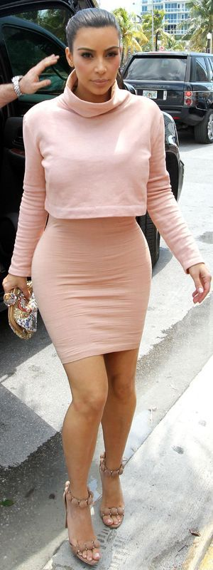 Kim Kardashian out and about in Miami wearing a nude outfit - 12 March 2014