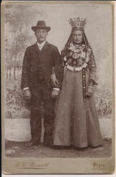 Antique Victorian era cabinet card photo of a Norwegian bride and groom. Norway, circa 1880s.