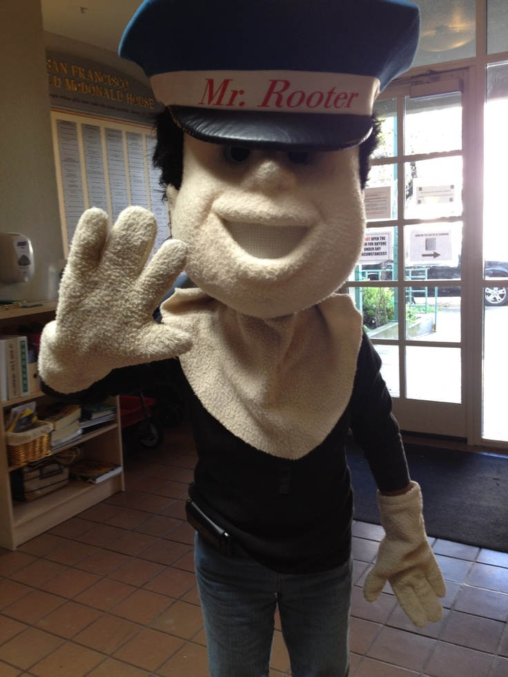 Mr. Rooter mascot got a smaller body! Thankfully he's still our Mr.!