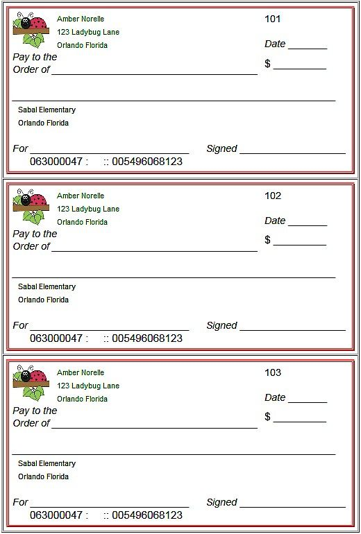 Blank Checks Template where you can create customized play checks for kids