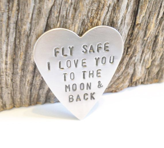 Fly Safe I Love You to The Moon & Back good luck pocket token or wallet keepsake. Just a special gift to give to someone thats going away, a