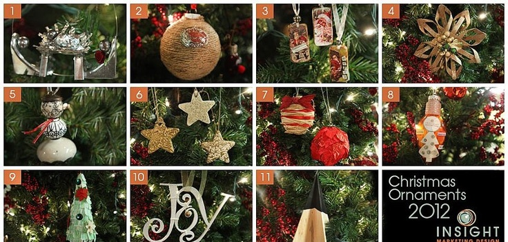 Each year Insight's team creates handmade ornaments for our tree. Here's the 2012 collection.