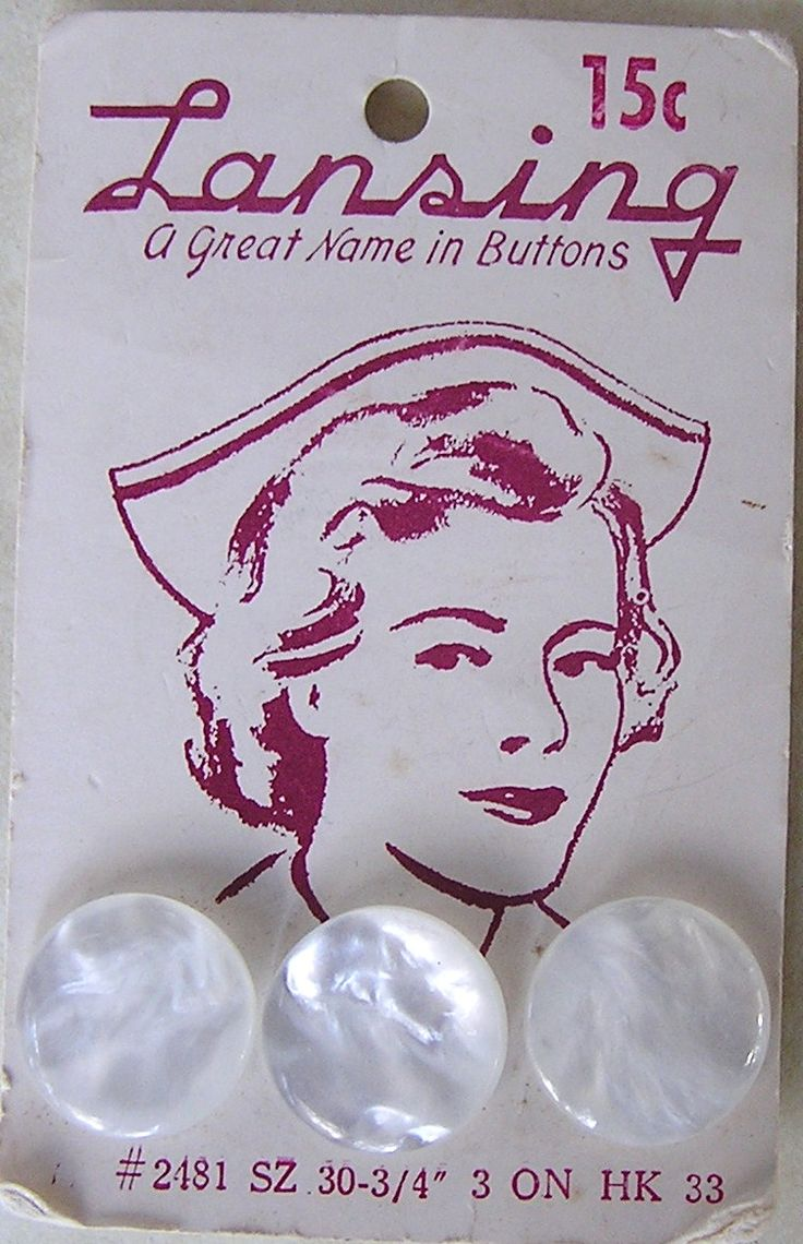 """(::) Lansing (Iowa) 'A Great Name in Buttons' vintage 15 cent mother of pearl uniform buttons.  {Research & original description by DiaNNe - """"Vintage Button Cards""""}"""