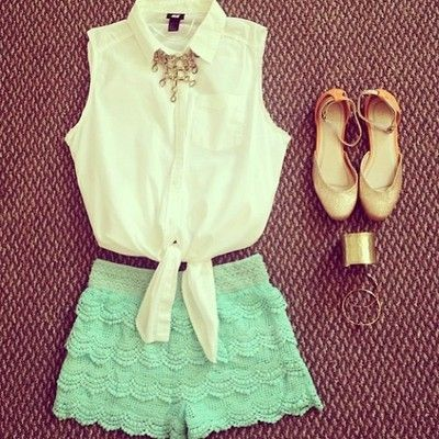 Gorgeous mint lace shorts with top white blouse and golden ladies shoes the best summer teenage fashion trend