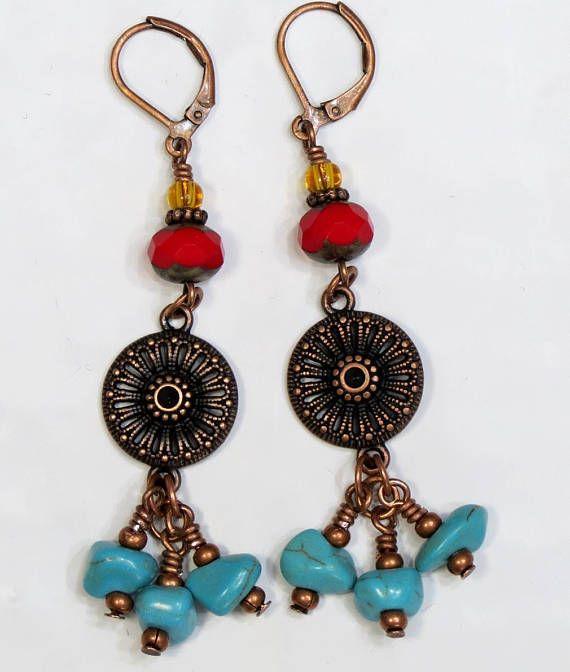 Lungo Boho orecchini  gioielli di perle di vetro  turchese #specialTweek