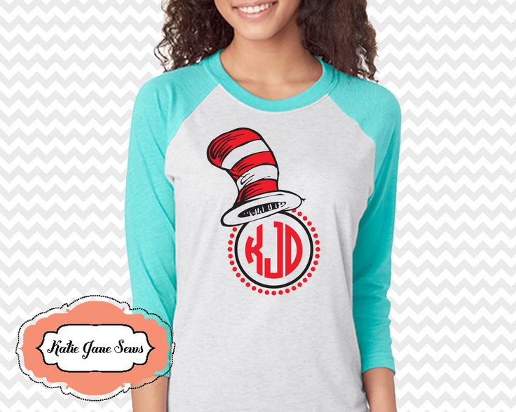 Dr Seuss Monogram Shirt, Cat in the Hat, Dr Seuss Teacher Adult Raglan Tshirt, Personalized Shirt, Adult Raglan Tshirt by KatieJaneSews on Etsy