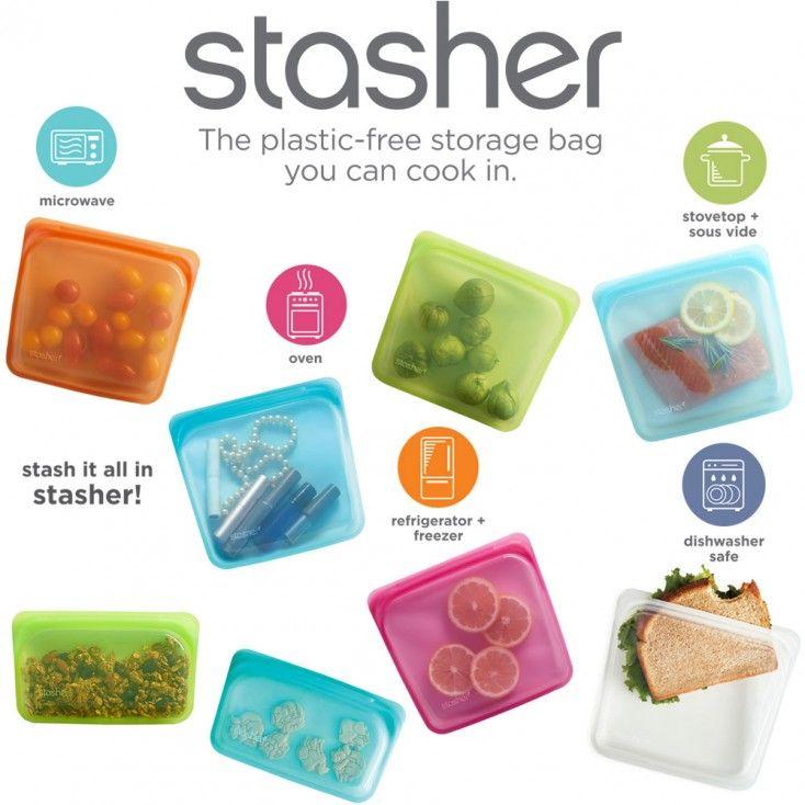 Stasher Reusable Silicone Bag Sandwich Aqua Hus Hem Stasher Food Grade Silicone Plastic Free Storage