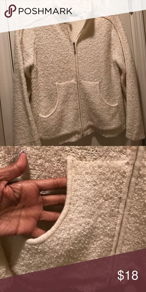 Cream zip up sweater with pockets Waist length with mock neck style collar. Great addition for the fall! Sweaters Cardigans