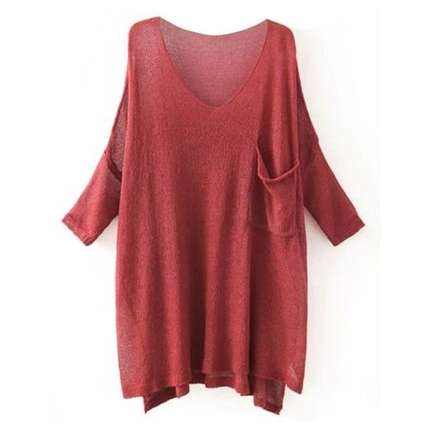 Lazy day Sheer Oversized Overlay Blouse ($25) ❤ liked on Polyvore featuring tops, blouses, long sleeves, red top, sheer blouse, sheer top, red blouse et round top