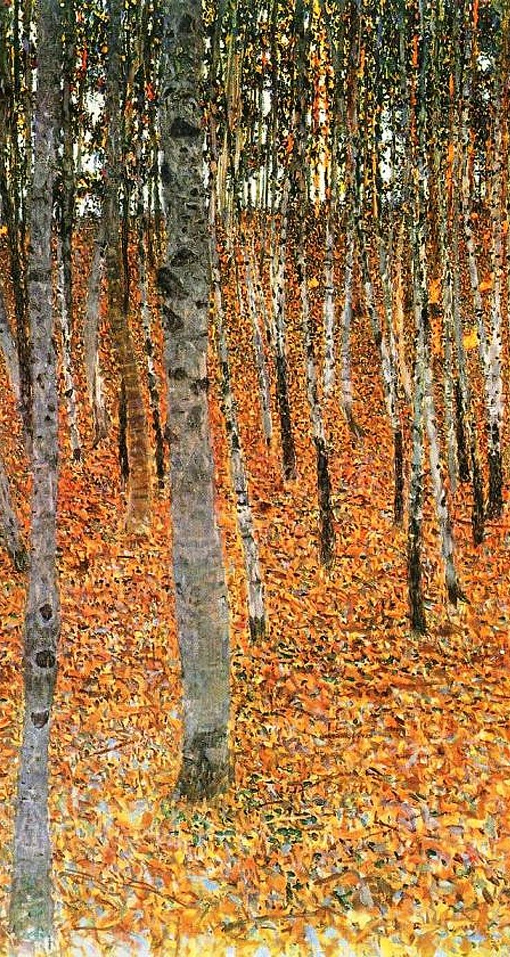 Gustav Klimt 'Birch Forest' detail