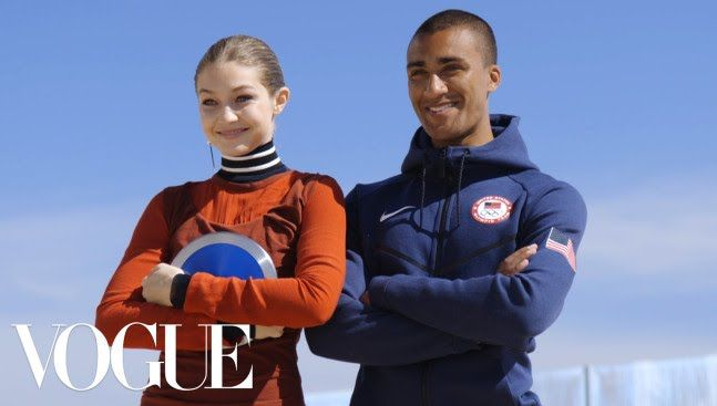Gigi Hadid and Olympian Ashton Eaton Film With A Selfie Stick Watch What Happens   Vogue http://www.youtube.com/watch?v=JRqRbR1-Tjc #Vogue #Fashion