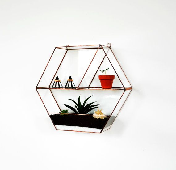 Wall honeycomb stained glass terrarium. It is a modern home decoration. This geometric planter is handcrafted from 2 mm clear glass. The front is open.  Size: - 26 cm height - 29 cm width - 8 cm depth  Perfect for a micro garden of cactus, or other beautiful flowers.  Plants are not included.  See more items from my shop:  https://www.etsy.com/shop/NojaGlassDesign   ***************************** Follow me : ▶ Instagram: https://www.instagram.com/nojaglassdesign…