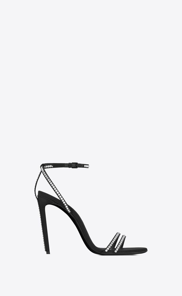 08f63d6d082 SAINT LAURENT Sandals Woman Robin 105 sandal in black satin and white  crystals a_V4