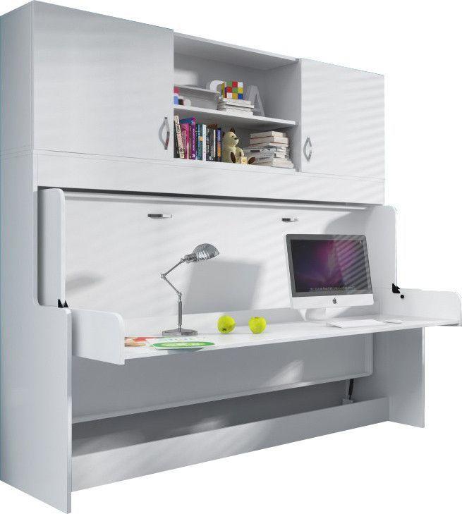 Bureau amovible avec Lit combiné escamotable 90x200 et espace de rangements supplémentaires
