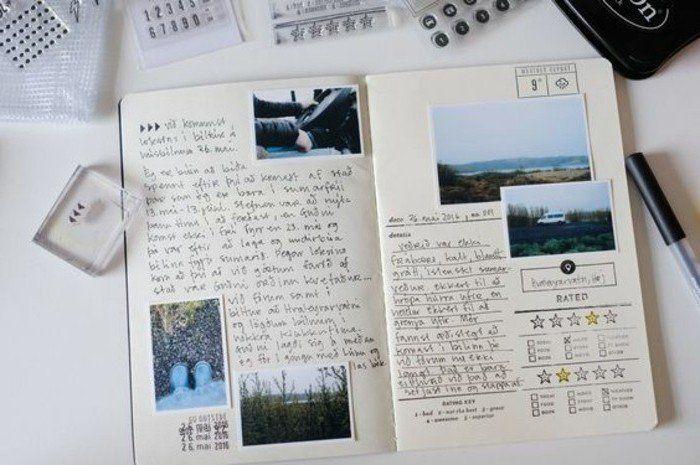 exemple de carnet de voyage, voitures, paysages