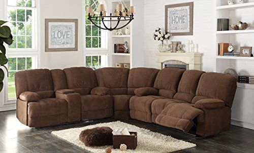Christies Home Living 3Piece Kevin Contemporary Fabric Sofa and Loveseat Reclining Living Room Sectional with 4 Reclining Seats Brown -- Check out the image by visiting the link.