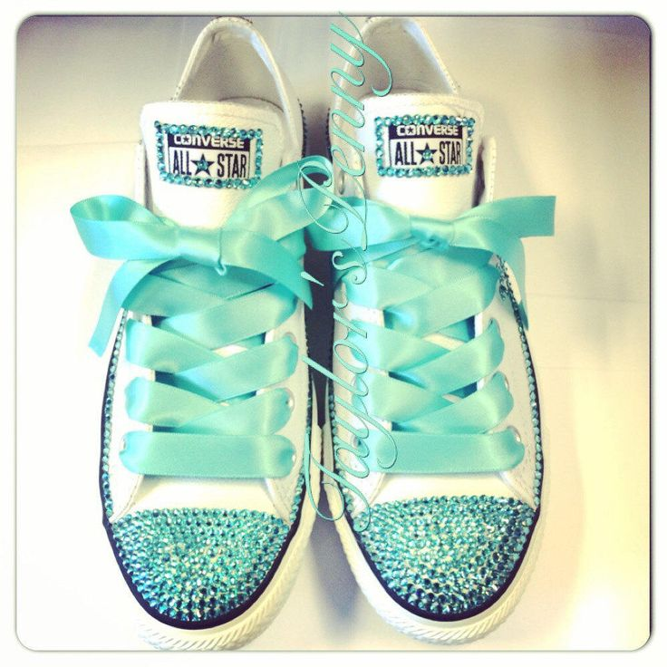 Women's Custom Bling Converse for bridesmaids - Mint Bedazzled Rhinestones Converse with Bows from TaylorsPenny on Etsy. Saved to Footwear. #livefree.