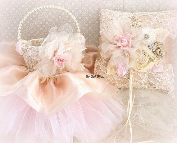 Bridal Ring Bearer Pillow and Pearl and Tutu Flower by SolBijou