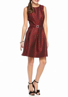 Nine West Fire RedBlack Printed Jacquard Fit and Flare Dress