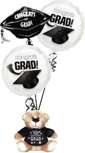 Black and White Graduation Balloon Bouquet with Teddy Bear – Party City