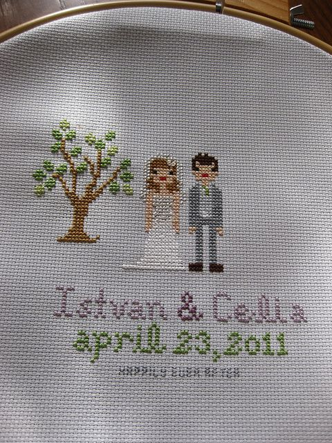Wedding Cross Stitch by thistle.town, via Flickr