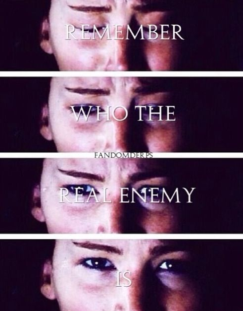 Remember, girl on fire, I'm still betting on you. They want you dead. But remember who the real enemy is.