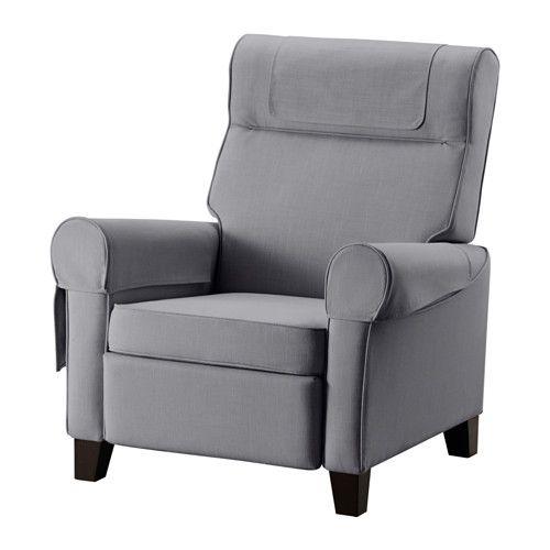 $299.00....  IKEA - MUREN, Recliner, Nordvalla medium gray, , When you lean backwards, the built-in footrest folds out.