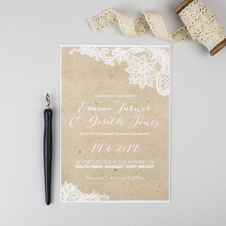 what should an evening wedding invite say%0A Lace Kraft Wedding Invitation