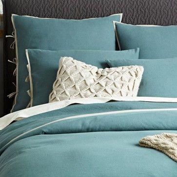 Linen Cotton Duvet Cover + Shams, Storm Bay - contemporary - duvet covers - West Elm