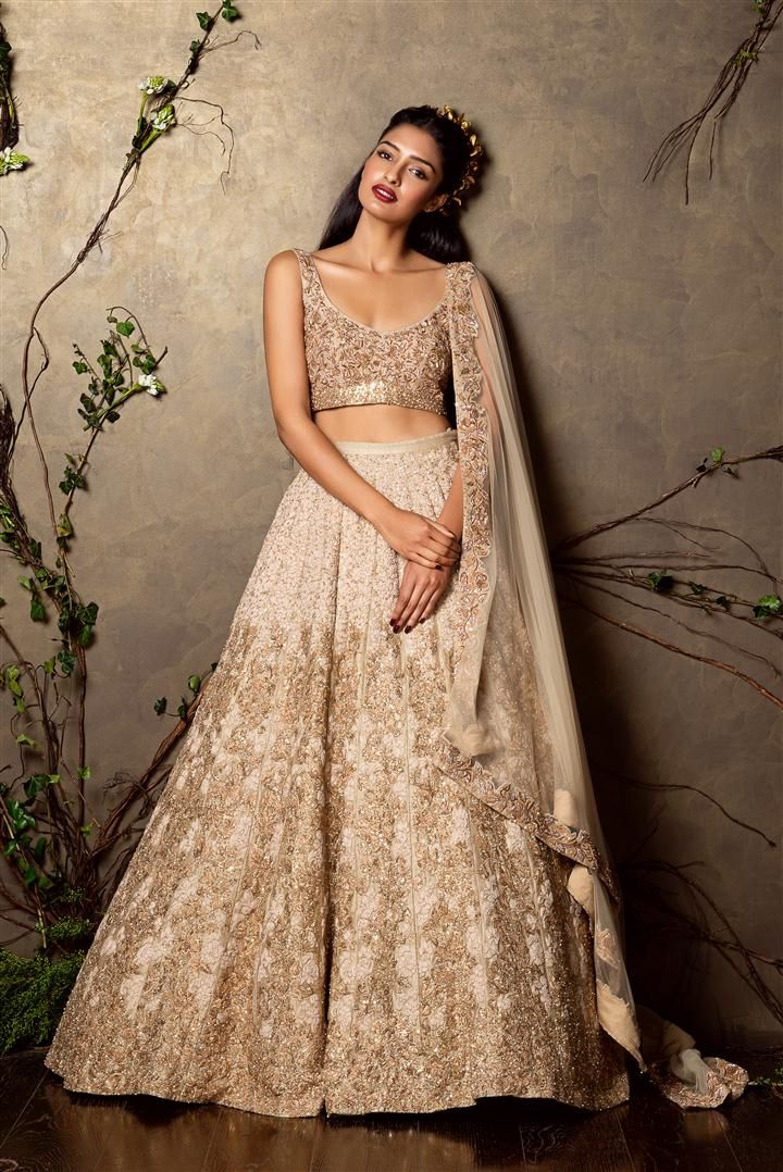 SHYAMAL & BHUMIKA A Little Romance Collection Gold Embroidered #Lehenga & #Blouse.