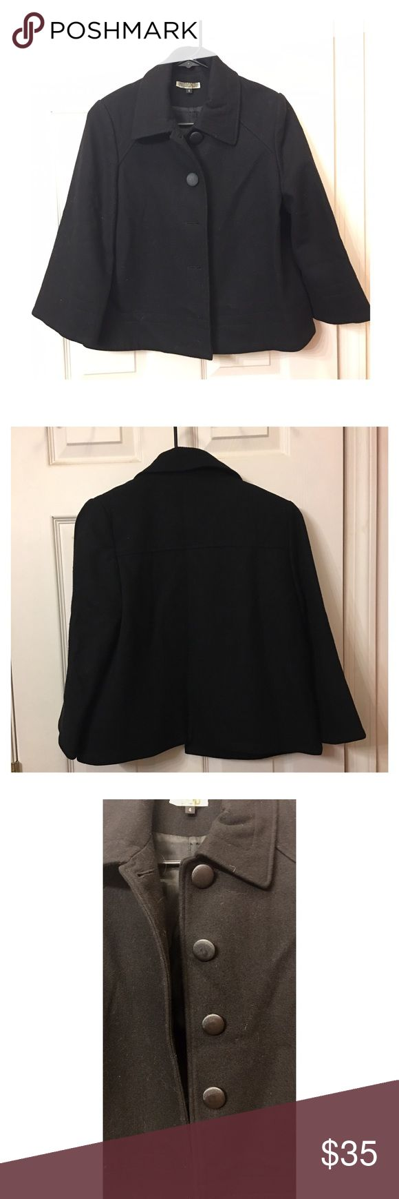 Anthropologie Pea Coat Really cute black Pea Coat - barely worn. Fabric buttons and lined on the inside. In perfect condition. Anthropologie Jackets & Coats Pea Coats