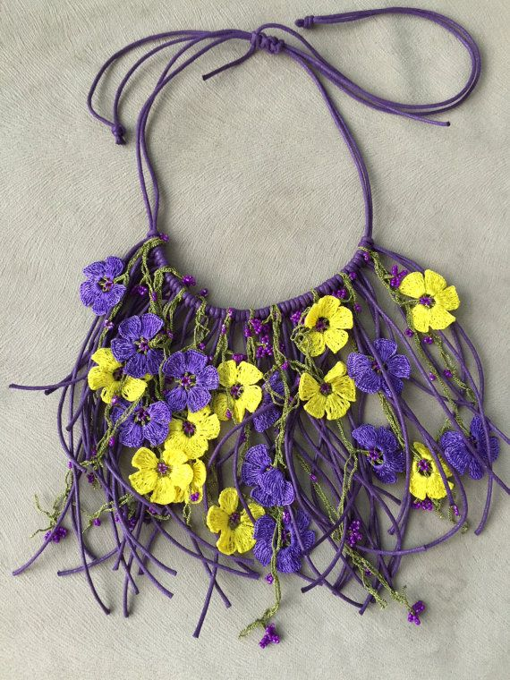 Necklace oya crochet purple yellow by byfunda on Etsy