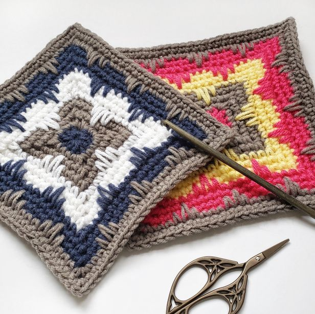 The Deco Square Is Delightfully Versatile Masculine Art Deco Inspired Bright Pastel Crochet Coasters Free Pattern Crochet Patterns Crochet Square Patterns