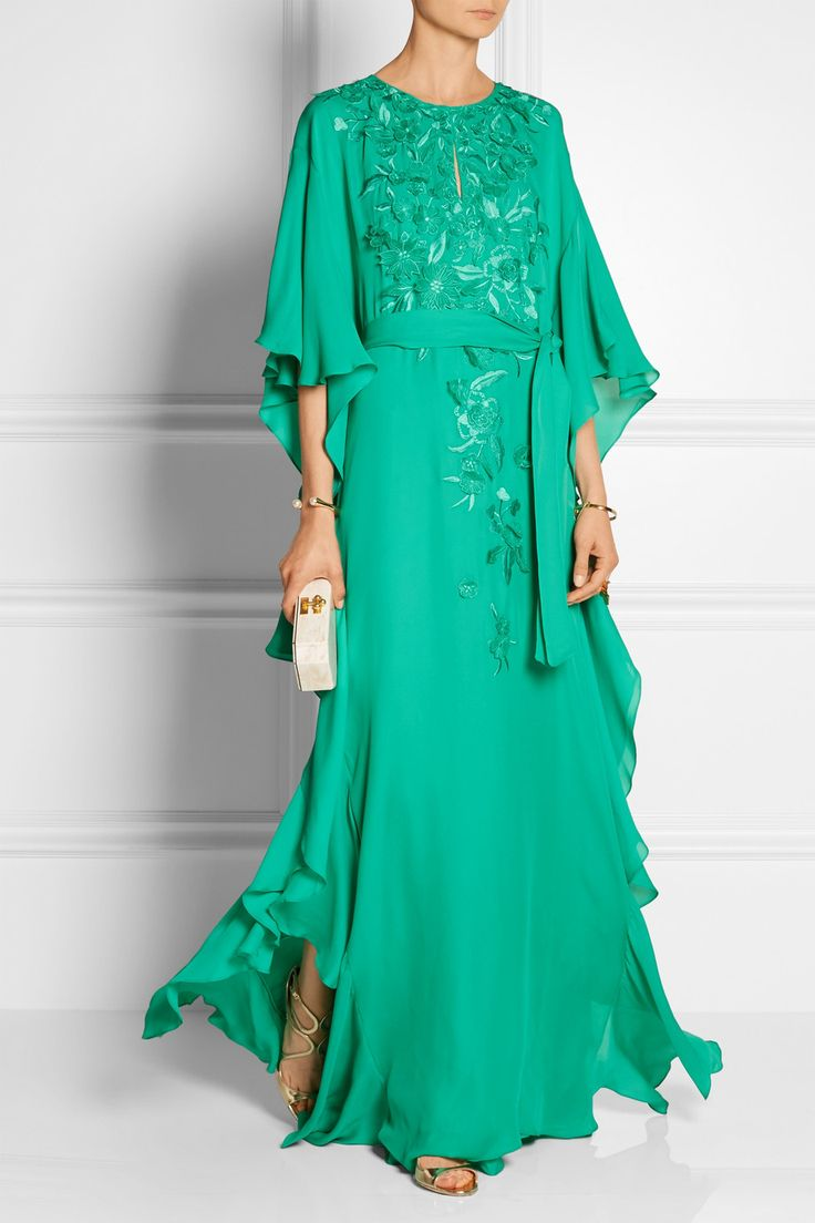 Oscar de la Rentaembroidered silk crepe gown