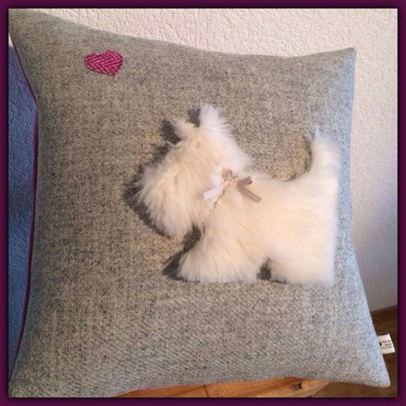 Scottish Terrier Cushion Cover - Grey Harris Tweed with White Fluffy Westie
